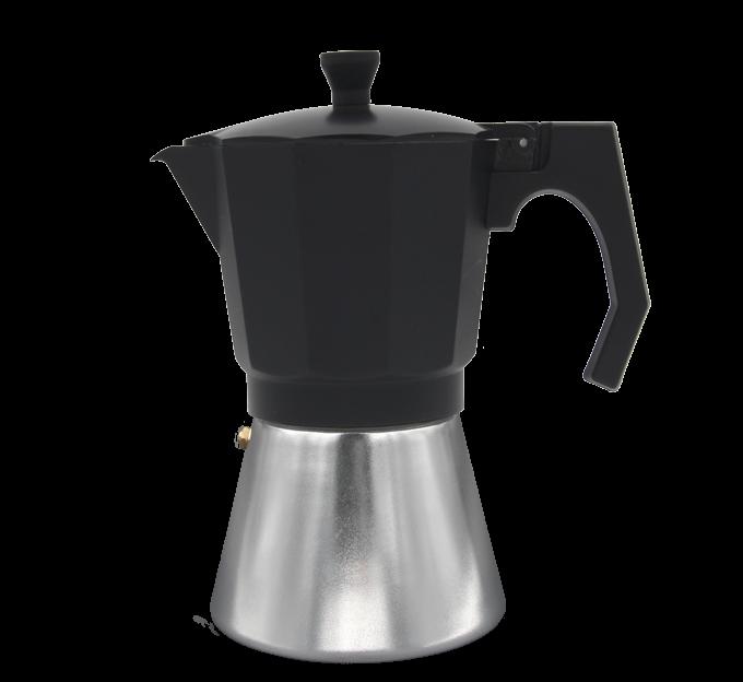 Cafetera de aluminio/Negro 6,9 o 12 tazas, apta para la inducción